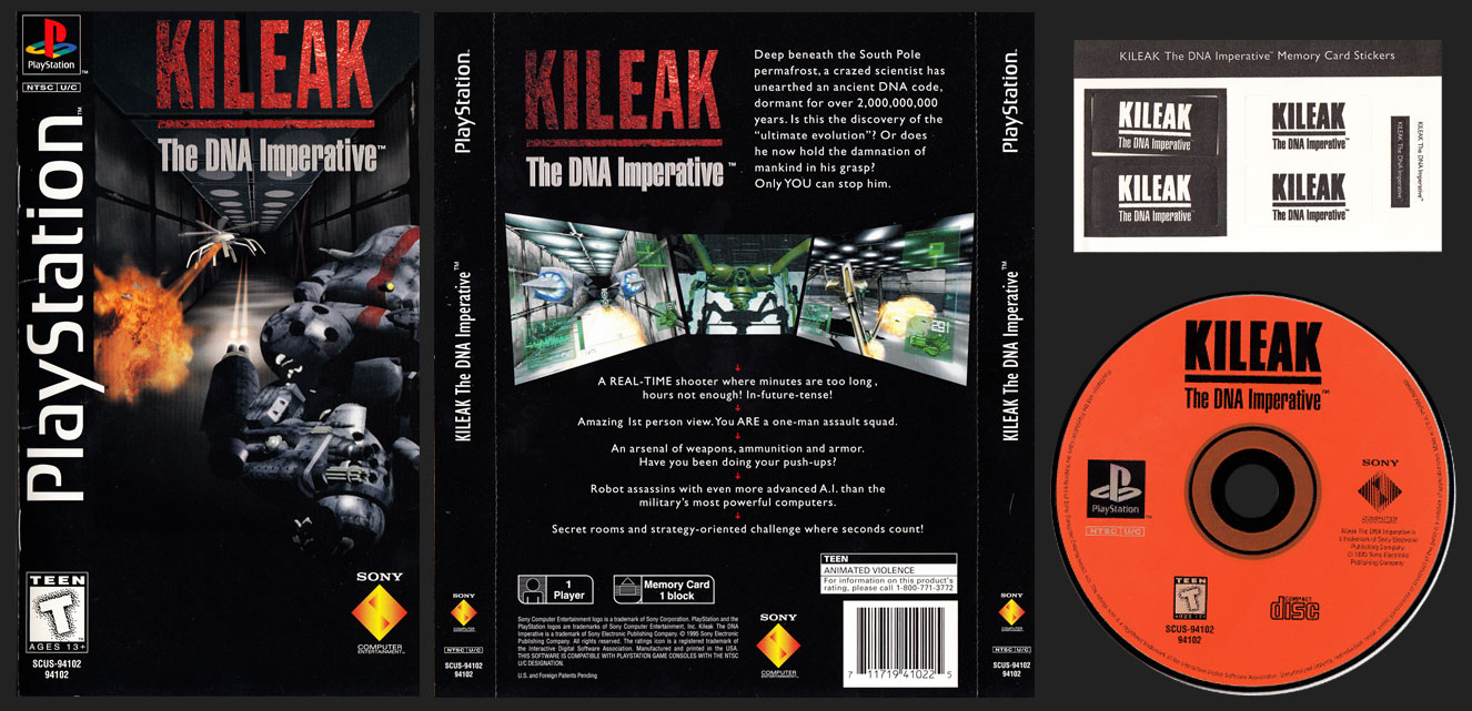 PSX PlayStation Kileak The DNA Imperative Black Label Clear Case Long Box Retail Release