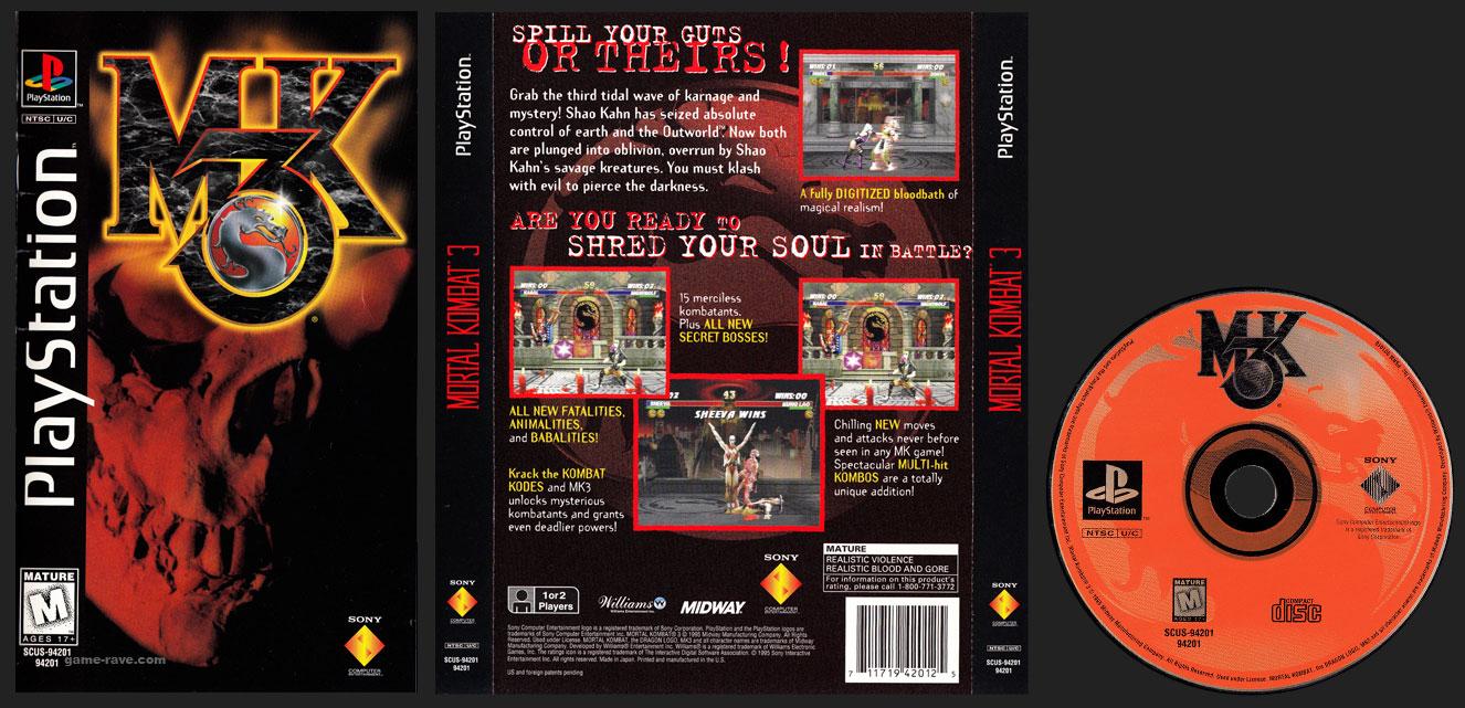 PSX PlayStation Mortal Kombat 3 Black Label Retail Release