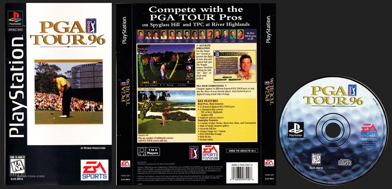 PSX PlayStation PGA Tour 96 Clear Case Saturn Style Long Box Black Label Retail Release