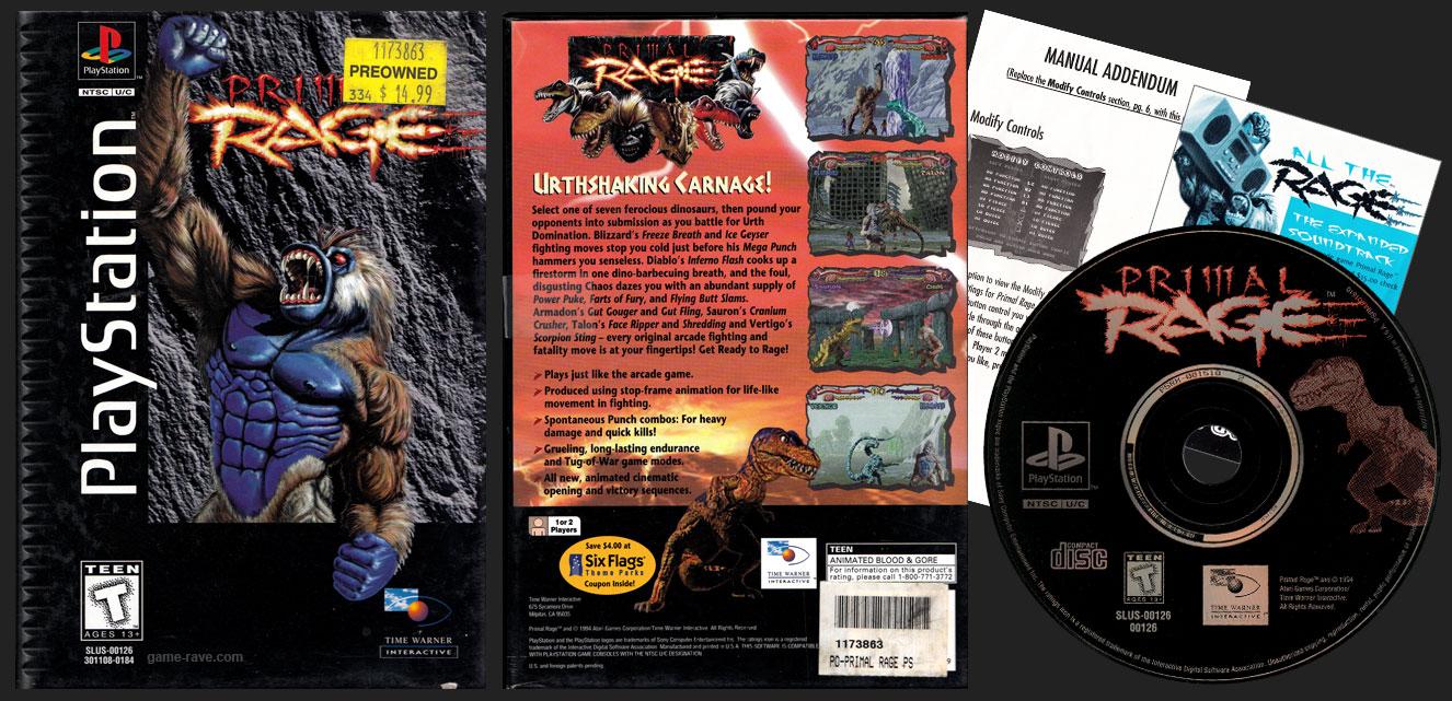 PSX PlayStation Primal Rage Flat Cardboard Black Label Retail Release