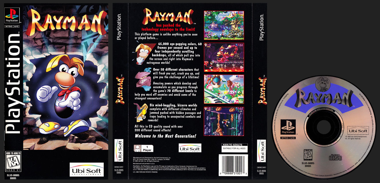 PSX PlayStation Rayman Clear Case Long Box Black Label Retail Release