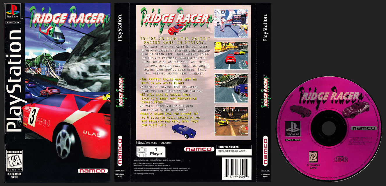 PSX PlayStation Ridge Racer Clear Case Long Box Black Label Retail Release