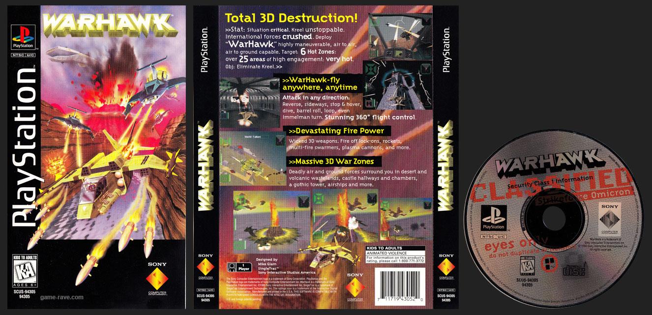 PSX PlayStation Warhawk Clear Case Long Box Release Black Label