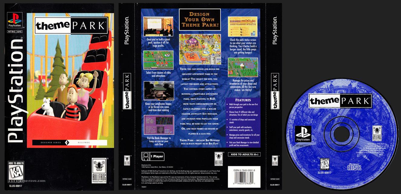 PSX PlayStation Theme Park Plastic Long Box Black Label Retail Release