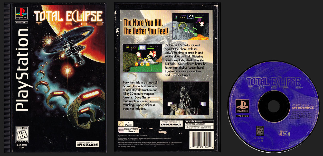 PSX PlayStation Total Eclipse Turbo Plastic Ridged Long Box Release