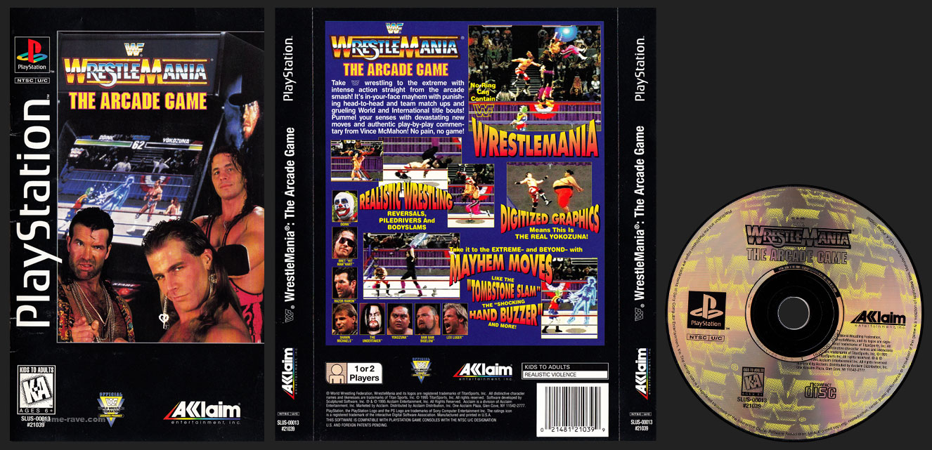 PSX PlayStation WWF Wrestlemania The Arcade Game Clear Case Long Box