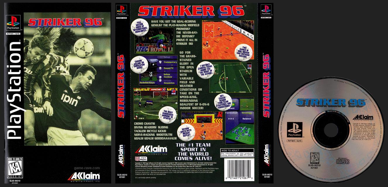 PSX PlayStation Striker 96 Clear Case Long Box Black Label Retail Release