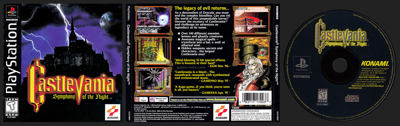 Castlevania Symphony of the Night Jewel Case Release