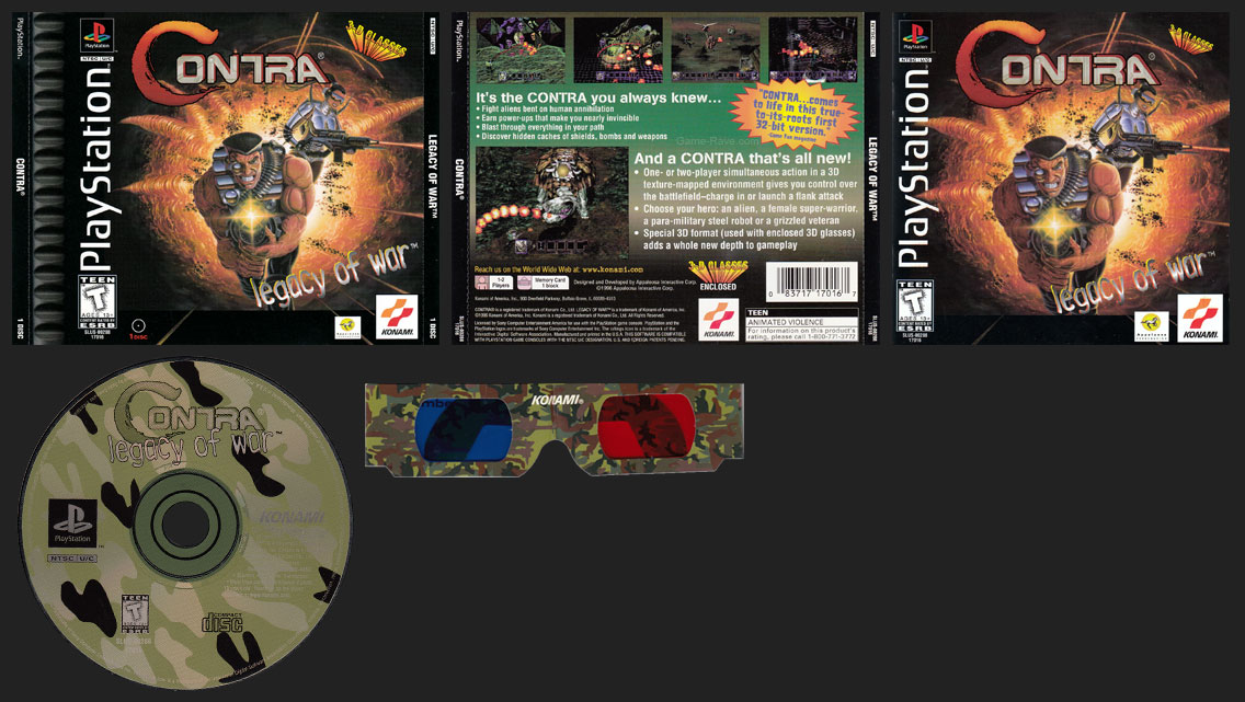 Contra Legacy of War Double Jewel Case Release with 3D Glasses
