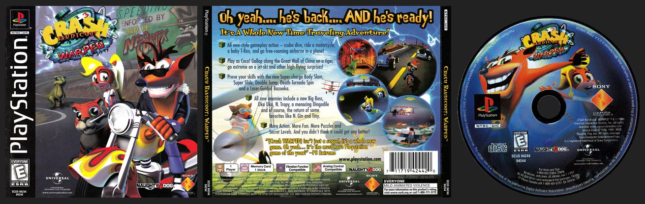Crash Bandicoot: Warped Full Disc Art
