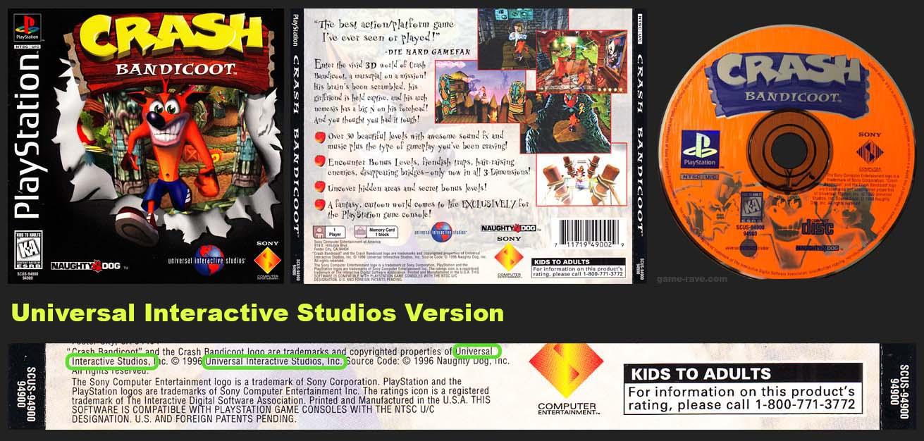 PSX PlayStation Crash Bandicoot Universal Interactive Studios Version