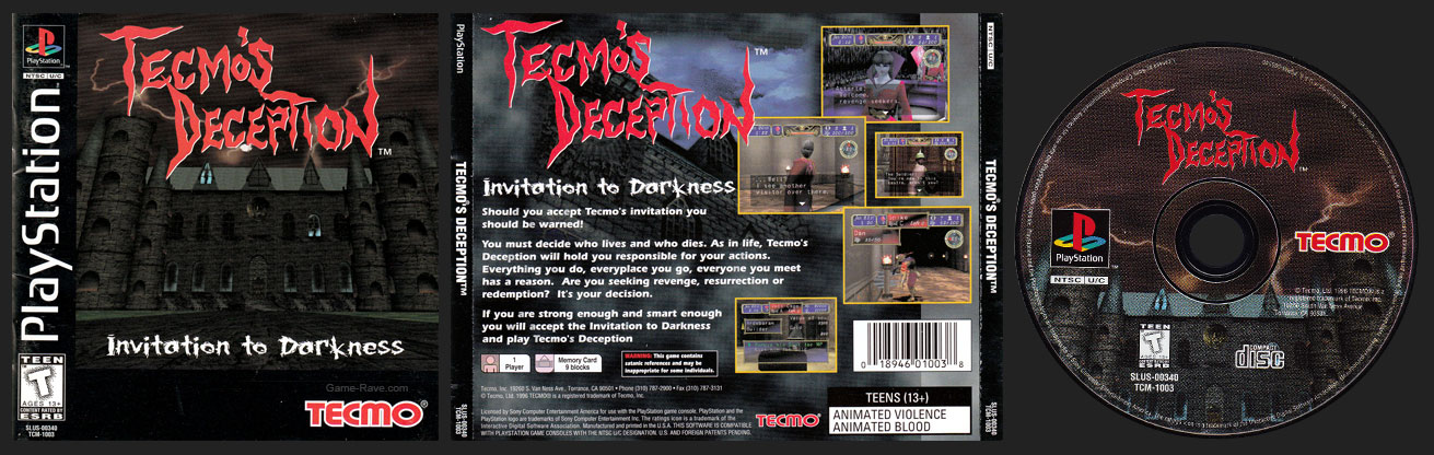 PSX PlayStation Tecmo's Deception Black Label Retail Release Single Hub