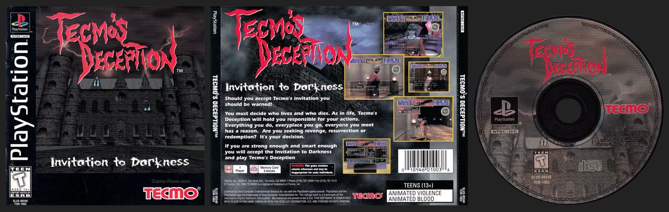 PSX PlayStation Tecmo's Deception Black and White Disc Black Label Retail Release