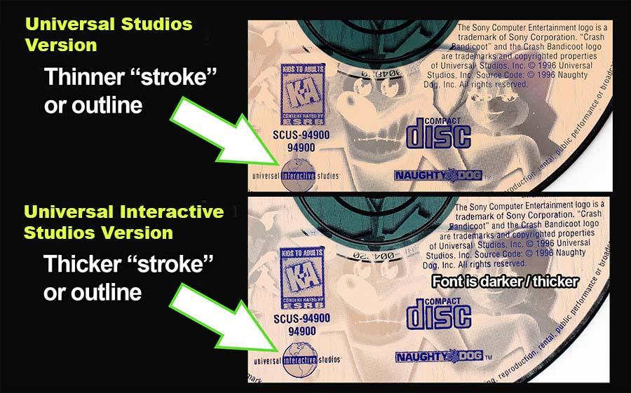 PSX PlayStation Crash Bandicoot Universal Studios Variant Text Disc Comparison