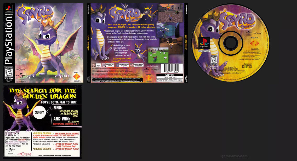 PSX PlayStation Spyro The Dragon Launch Game Black Label Retail Release with Sweepstakes