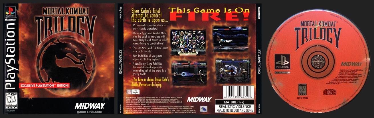 PSX PlayStation Mortal Kombat Trilogy 1.0 Black Label Retail Release