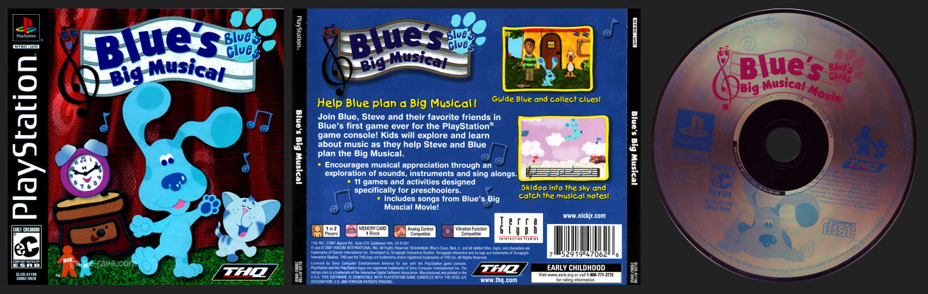 PSX PlayStation Blue's Clues Blue's Big Musical Black Label Retail Release
