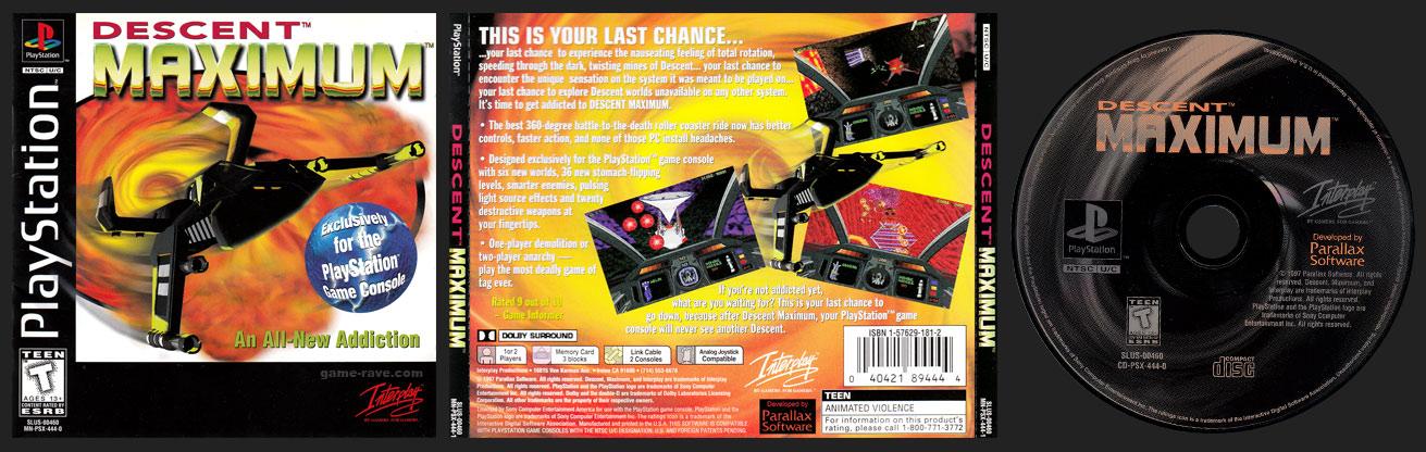 PSX PlayStation Descent Maximum Black Label Retail Release