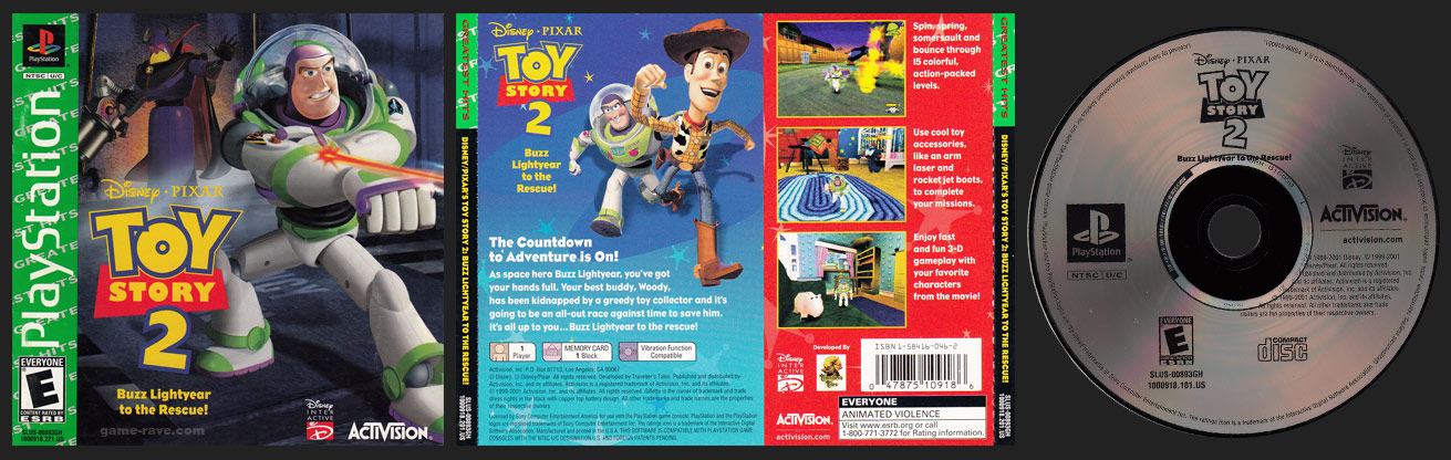 PSX PlayStation Toy Story 2 Greatest Hits Release Censored