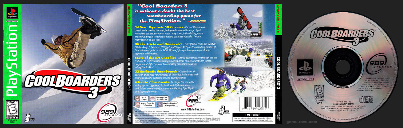 Cool Boarders 3 Greatest Hits Release