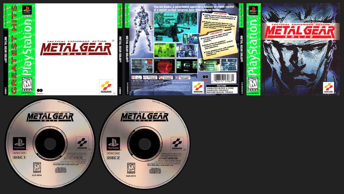 PSX PlayStation Metal Gear Solid Greatest Hits Corrected Logo GH Release
