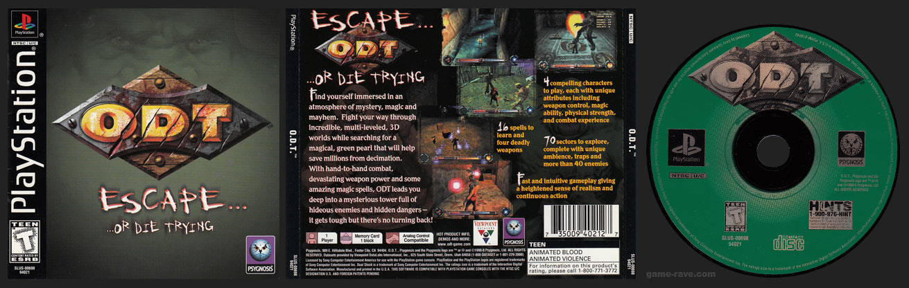 PSX PlayStation O.D.T. Or Die Trying Black Label Retail Release