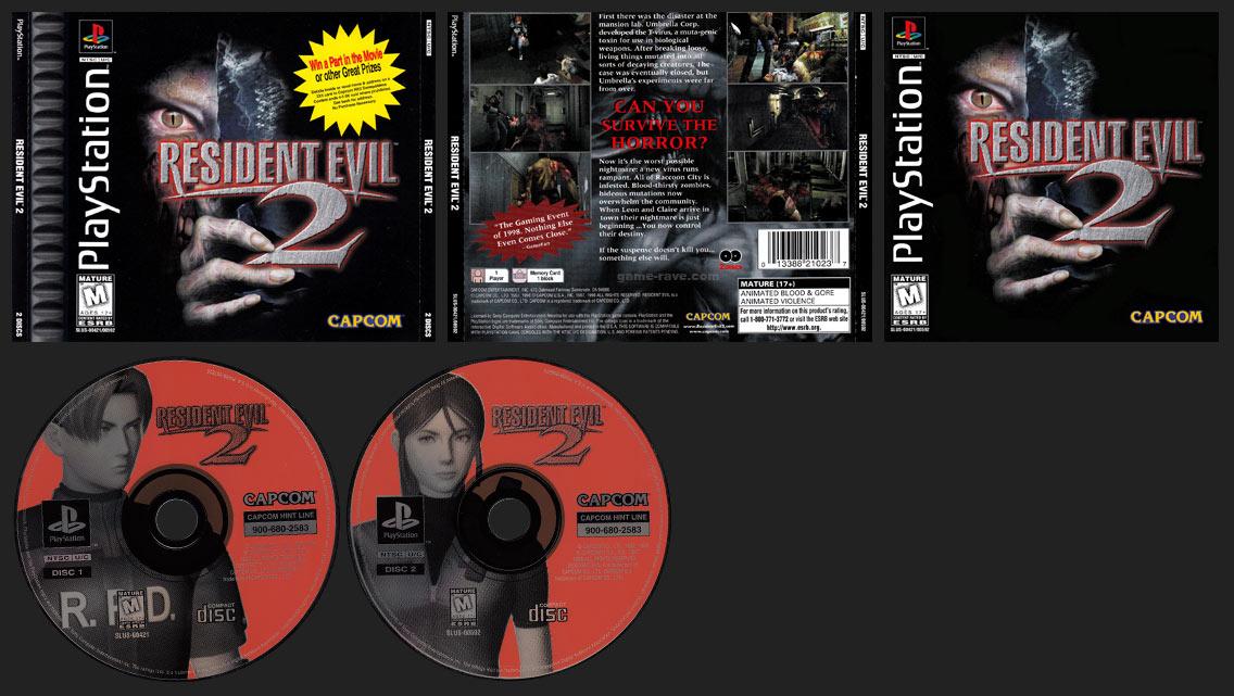 PSX PlayStation Resident Evil 2 Double Jewel Case Black Label Retail Release