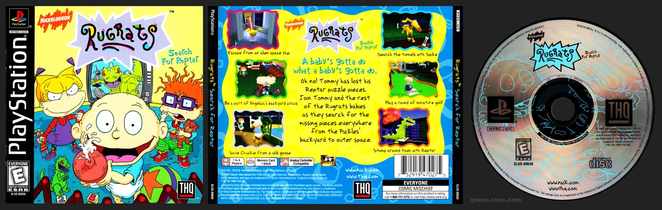 PSX PlayStation Rugrats Search For Reptar Black Label Retail Release