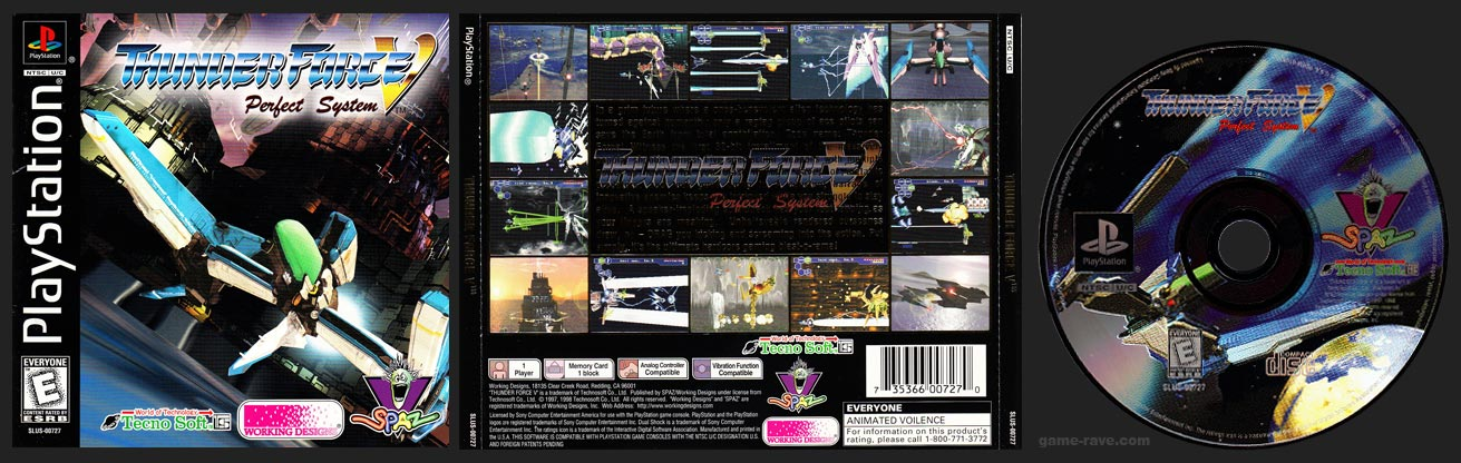 PSX PlayStation Thunder Force V Perfect System Black Label Retail Release