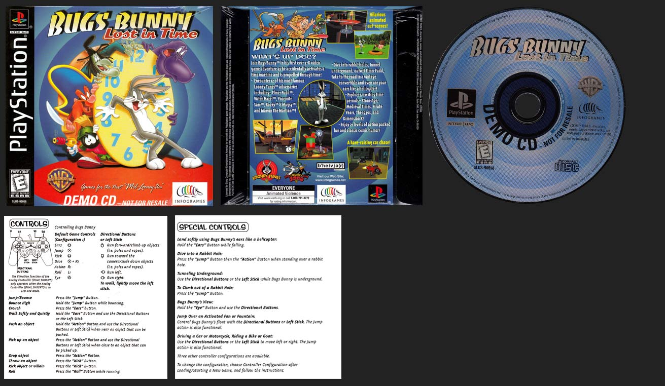 PSX PlayStation Bugs Bunny Lost in Time Demo Disc with Sleeve and Instruction Sheet