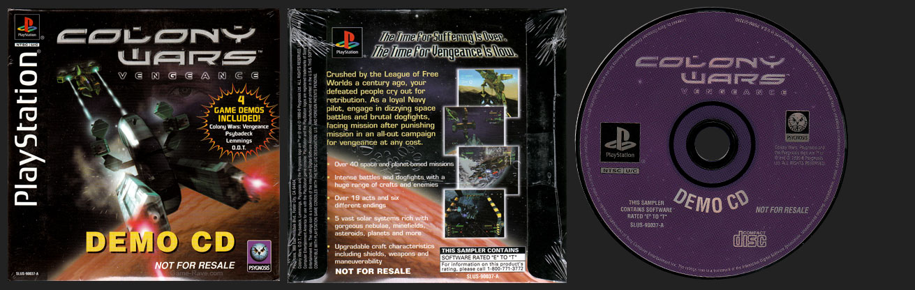 PSX PlayStation Demo Colony Wars Vengeance Demo