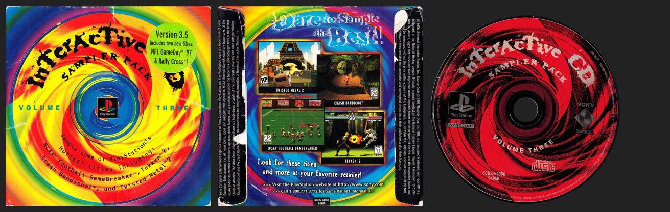 PSX PlayStation Interactive CD Sampler Pack Volume 3