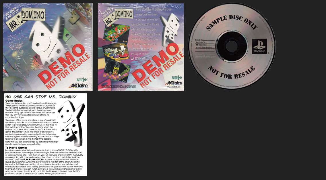 PSX PlayStation No On Can Stop Mr. Domino Trade Demo Release