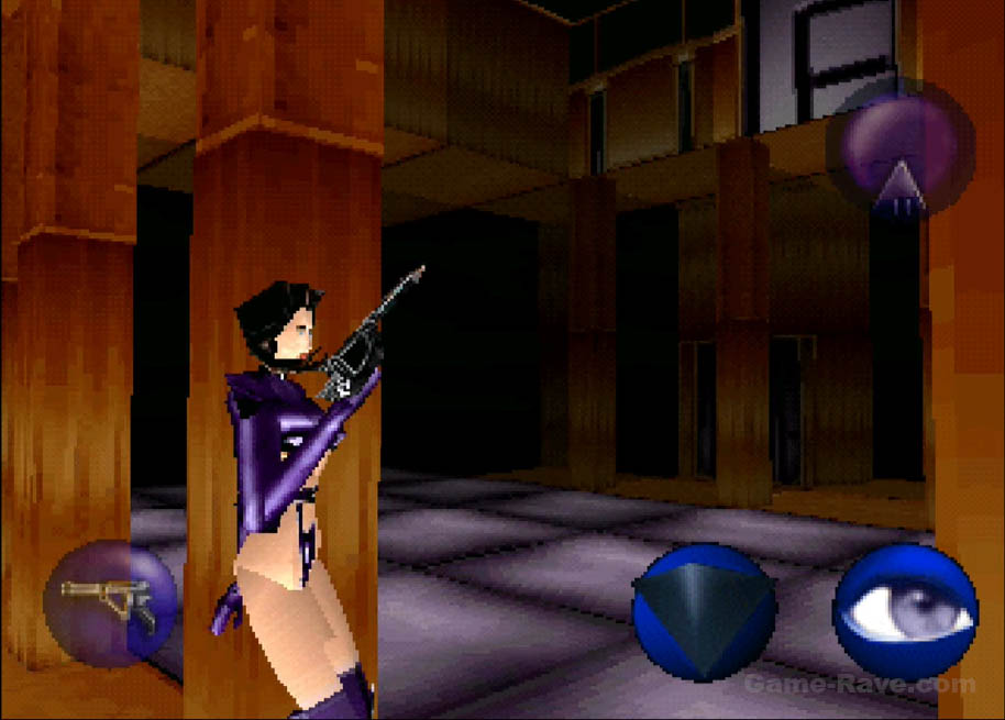 Aeon Flux stands behind a column in Trevor's Office.