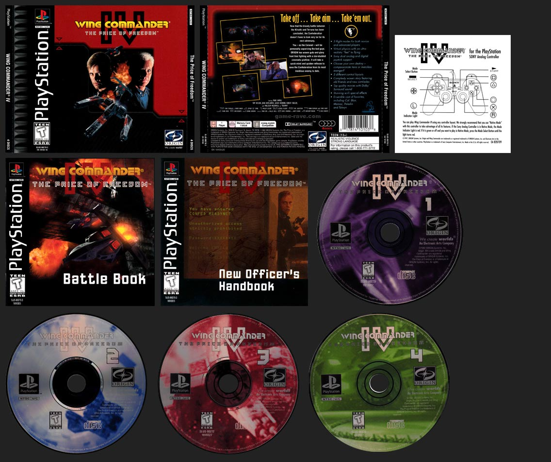 PSX PlayStation Wing Commander IV The Price of Freedom Double Jewel Case Black Label Retail Release