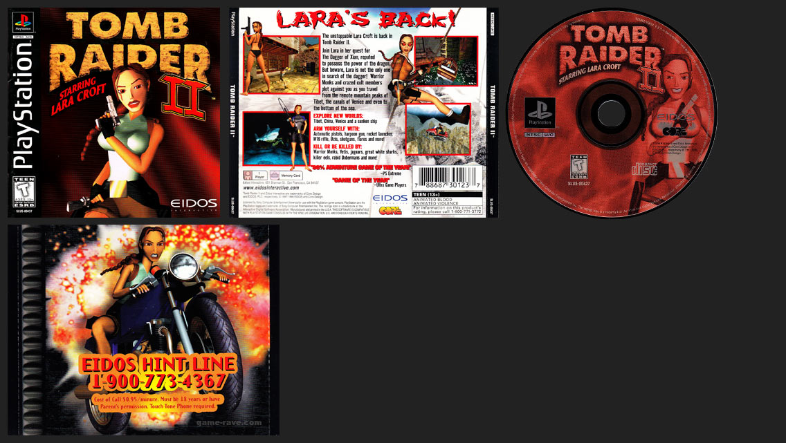 PSX Tomb Raider II Eidos Hint Line Black Label Retail Release
