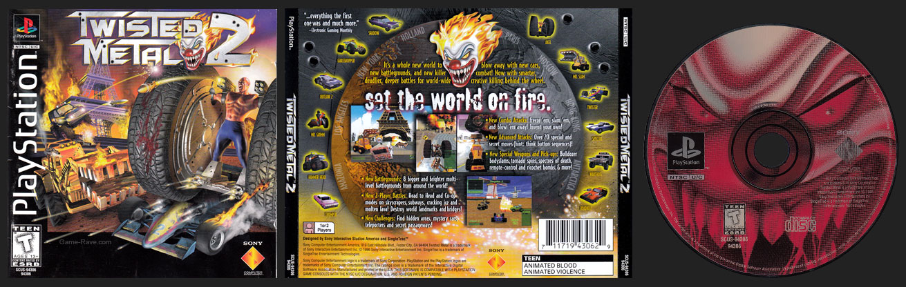 PSX PlayStation Twisted Metal 2 Black Label Retail Release 2 Ring Hub