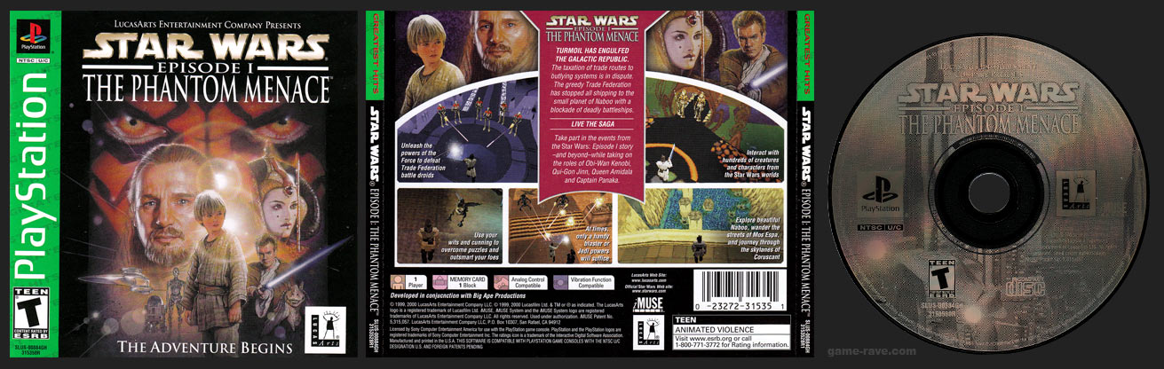 PlayStation Star Wars Episode 1 The Phantom Menace Greatest Hits Green Label Retail Release