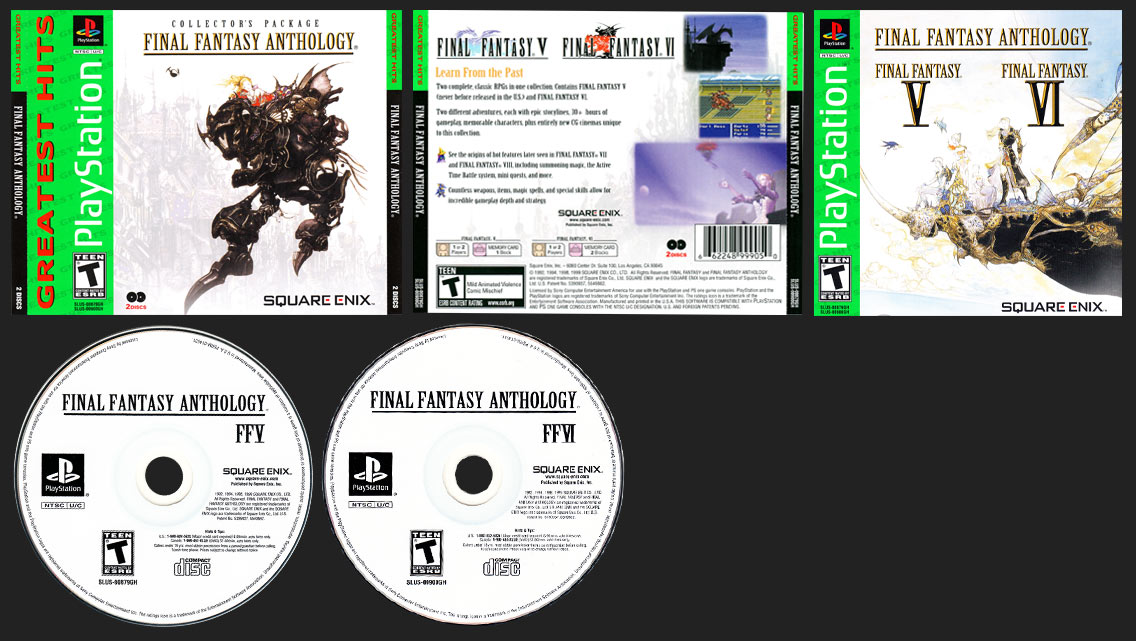 PlayStation Final Fantasy Anthology Greatest Hits Silver Bottom