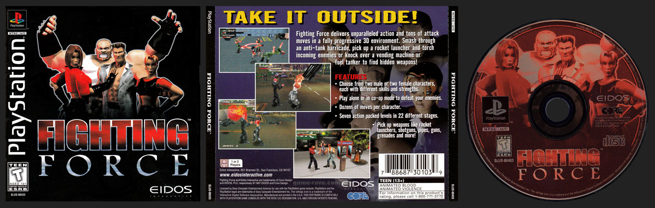 PSX PlayStation Fighting Force Black Label Retail Release