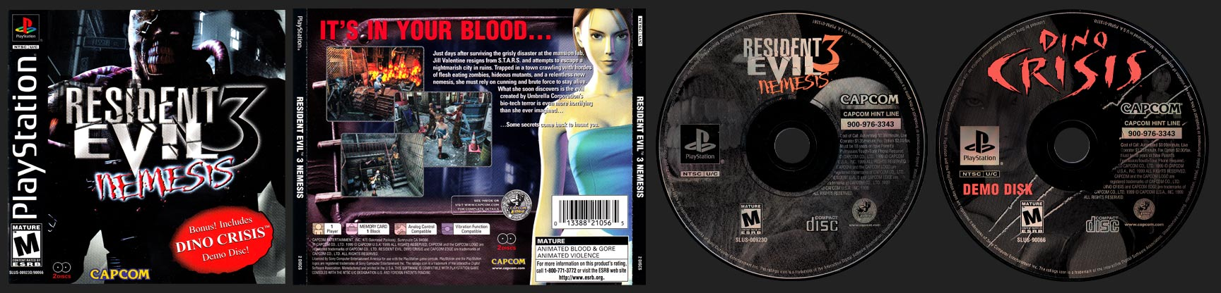 PSX PlayStation Resident Evil 3 Nemesis with Dino Crisis Demo Slim Double Jewel Case Black Label Release