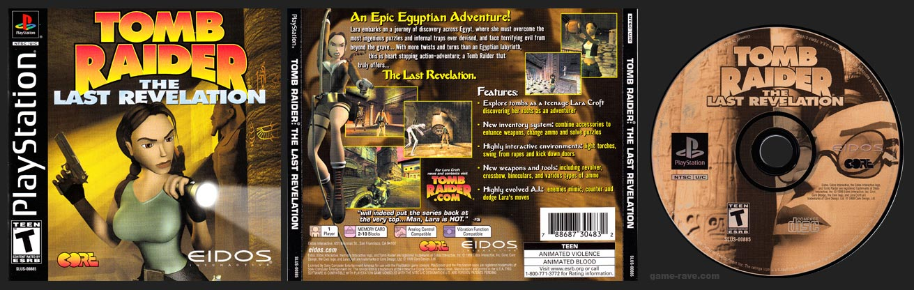 PSX PlayStation Tomb Raider: The Last Revelation Black Label Retail Release
