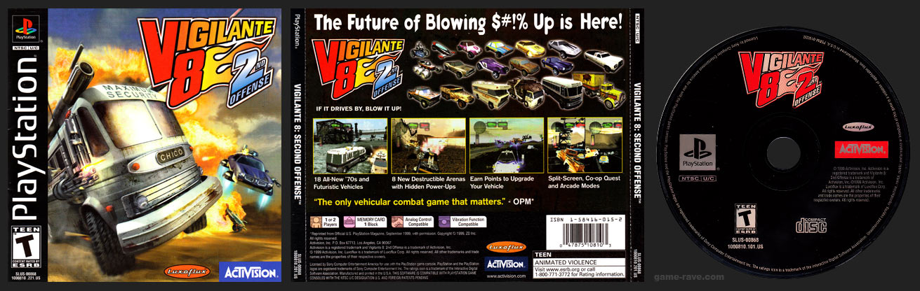 PSX PlayStation Vigilante 8: 2nd Offense Black Label Retail Release
