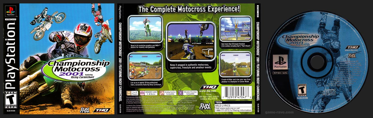 PSX PlayStation Championship Motocross 2001 Featuring Ricky Carmichael Black Label Retail Release