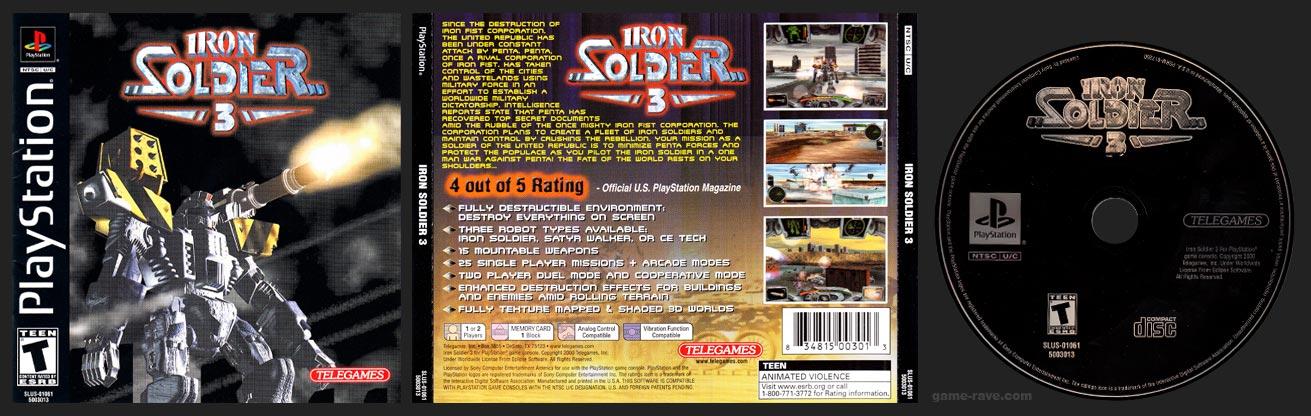 PSX PlayStation Iron Soldier 3 Black Label Telegames Retail Release