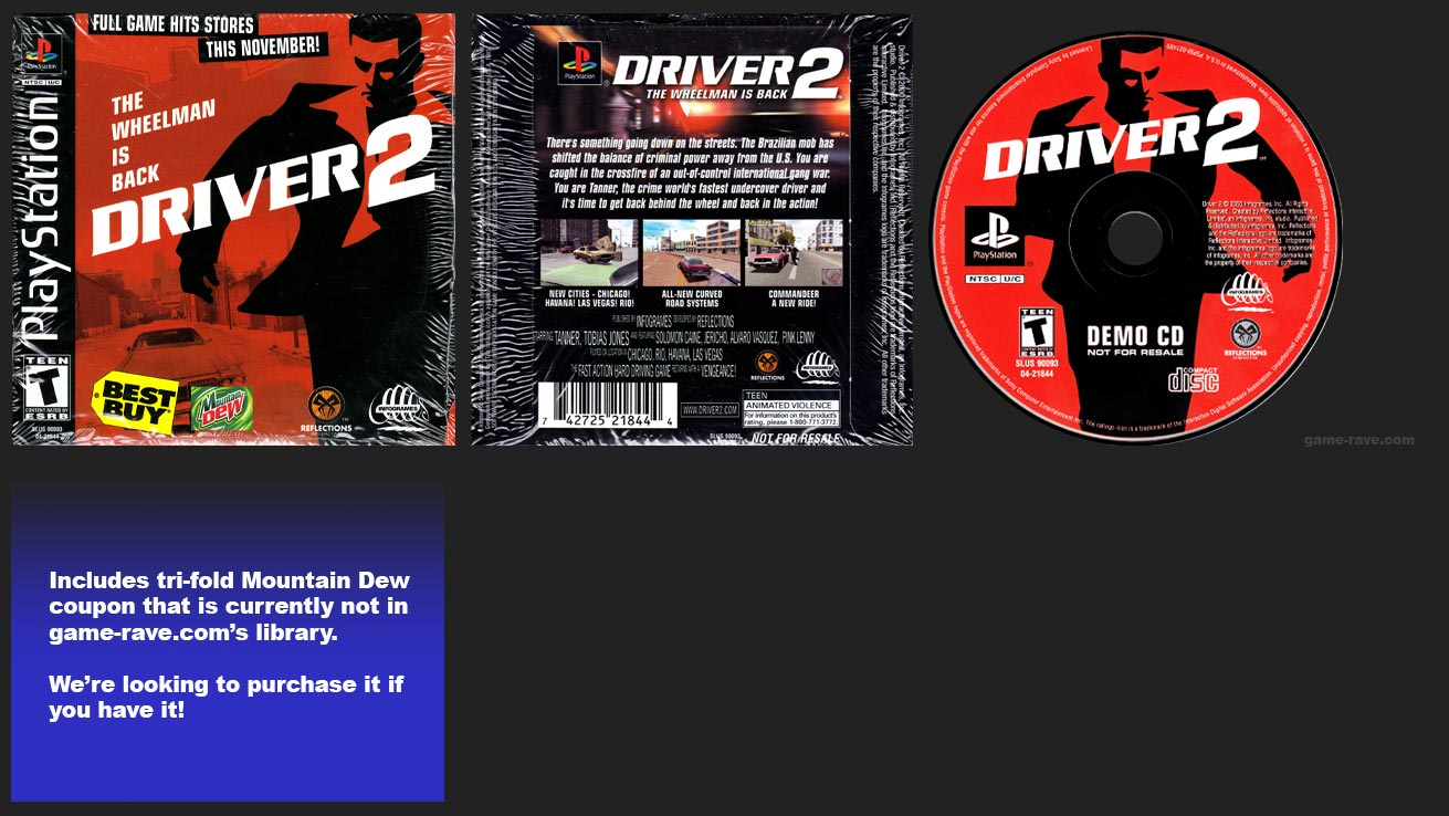 PlayStation Driver 2 Demo CD Mountain Dew Release