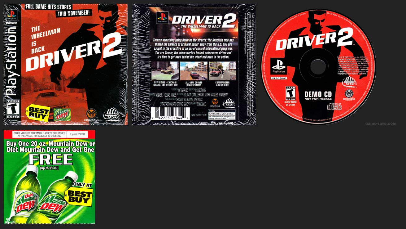 PSX PlayStation Driver 2 Demo Mountain Dew Best Buy version with Coupon