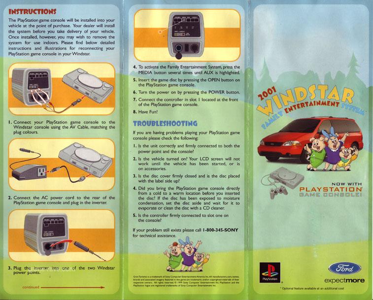 PSX Demo Ford Demo Disc Windstar Brochure Side 1