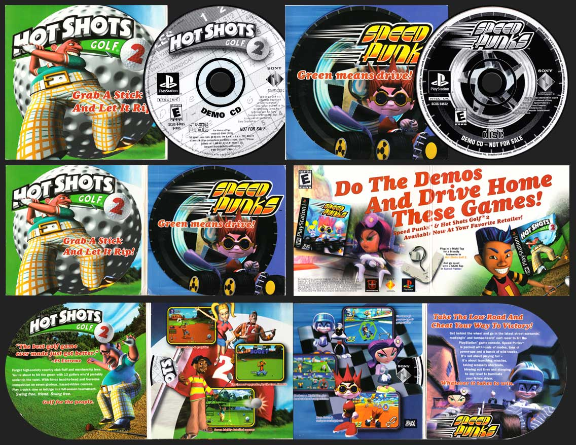 PSX PlayStation Hot Shots Golf 2 and Speed Punks Demo Set