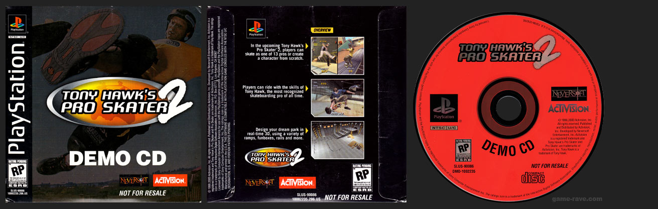 PlayStation Tony Hawk's Pro Skater 2 Demo CD